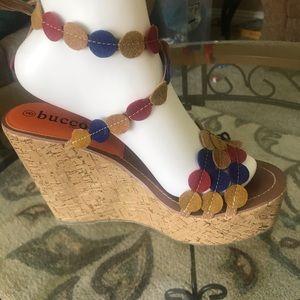 Bucco high wedge strappy open toe sandal